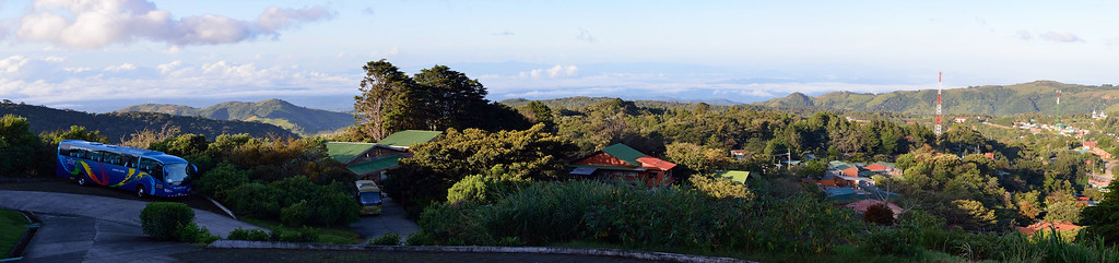 That evening, we got to Monteverde, the Cloud Forest.  This is the view from our hotel with our blue tour bus in the foreground.